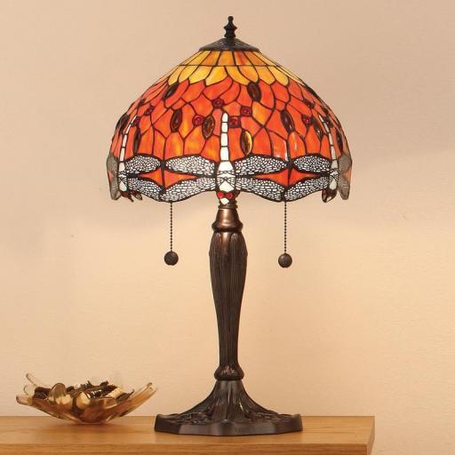 Dragonfly Flame Medium Table Lamp - Interiors 1900 Tiffany Light