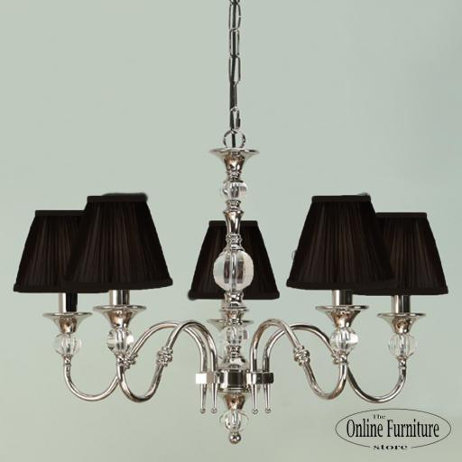 Polina Nickel 5 Light Chandelier Black - New Classics Interiors 1900