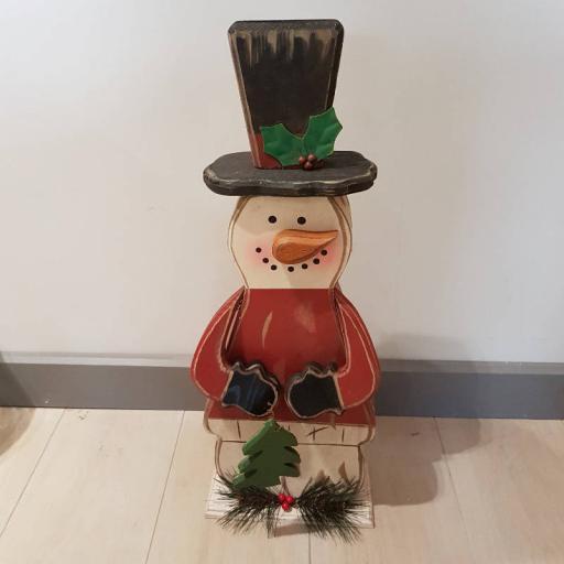 Wooden Snowman Figure