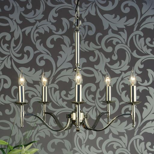 Stanford Nickel 5 Light Chandelier - New Classics Interiors 1900 Lighting
