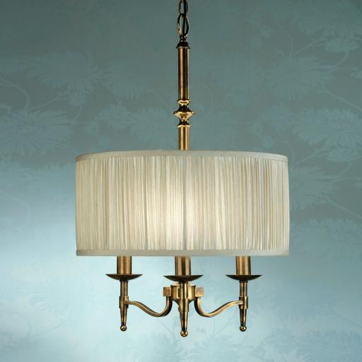 Stanford Brass Georgetown Pendant Beige Shade - New Classics Interiors 1900 Lighting