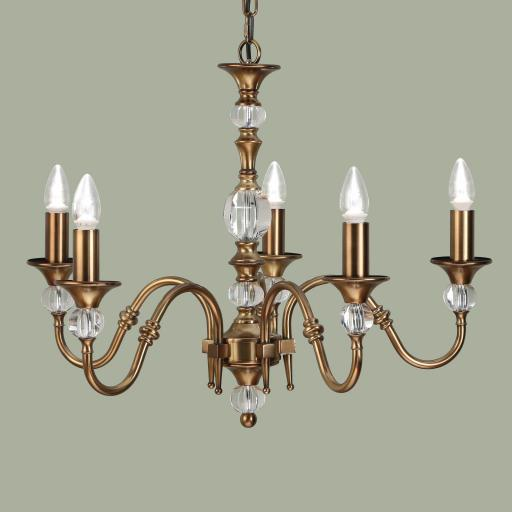 Polina Brass 5 Light Chandelier - New Classics Interiors 1900 Lighting