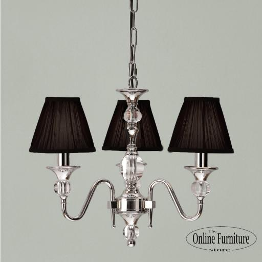 Polina Nickel 3 Light Chandelier Black - New Classics Interiors 1900