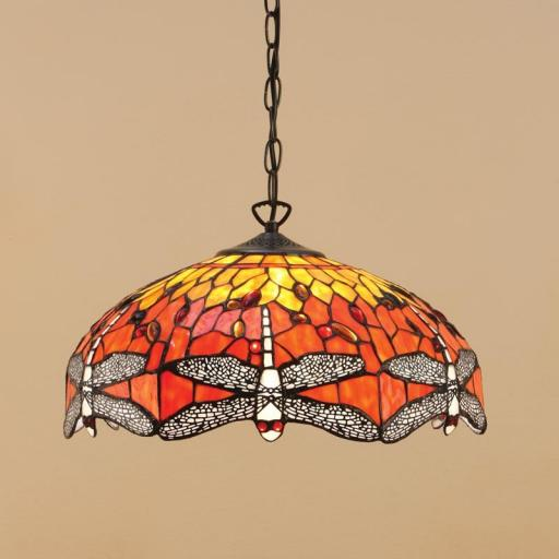Dragonfly Flame Medium Pendant - Interiors 1900 Tiffany Light
