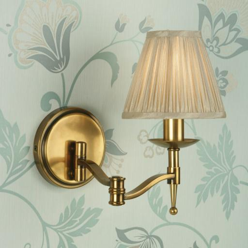 Stanford Brass Swing Arm Wall Light Beige Shade - New Classics Interiors 1900 Lighting