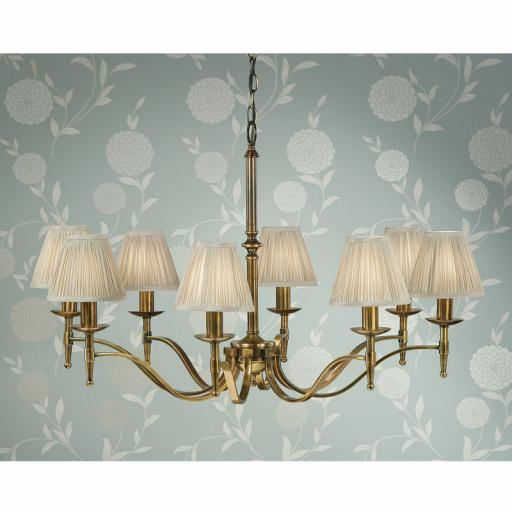 Stanford Brass 8 Light Chandelier Beige Shades - New Classics Interiors 1900 Lighting