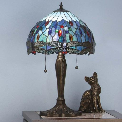 Dragonfly Blue Medium Table Lamp - Interiors 1900 Tiffany Light