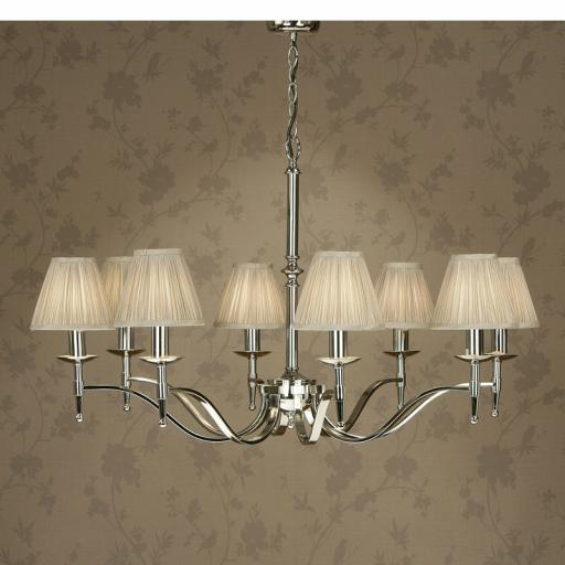Stanford Nickel 8 Light Chandelier Beige Shades - New Classics Interiors 1900 Lighting