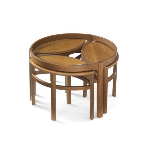 5614 Glass Top Trinity Nest of Tables - Nathan Furniture - Occasions Teak