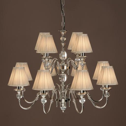 Polina Nickel 12 Light Chandelier Beige - New Classics Interiors 1900 Lighting