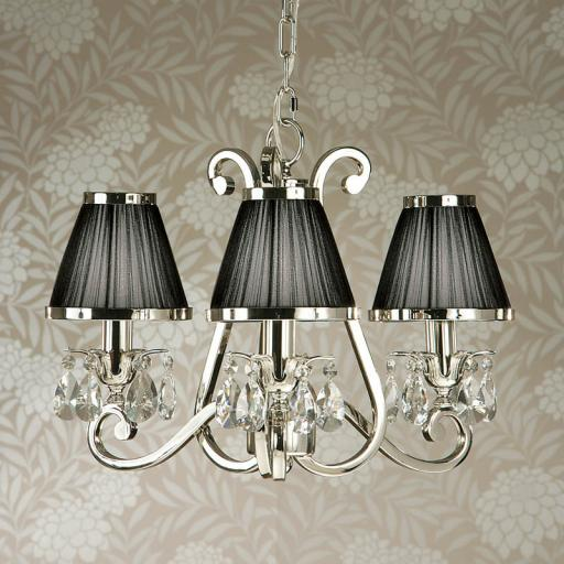 Oksana Nickel 3 Light Chandelier with Black Shades - New Classics Interiors 1900
