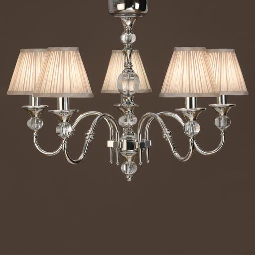 Polina Nickel 5 Light Chandelier Beige - New Classics Interiors 1900 Lighting