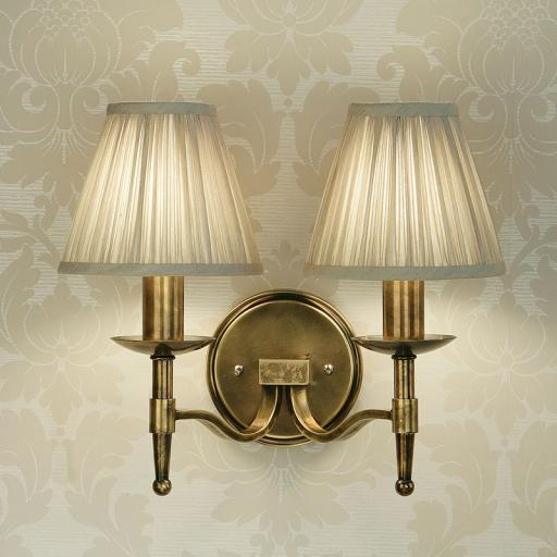 Stanford Brass Double Wall Light Beige Shades - New Classics Interiors 1900 Lighting