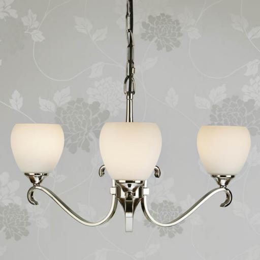 Columbia Nickel 3 Light Chandelier Opal Matt Art Glass Shades - New Classics Interiors 1900 Lighting