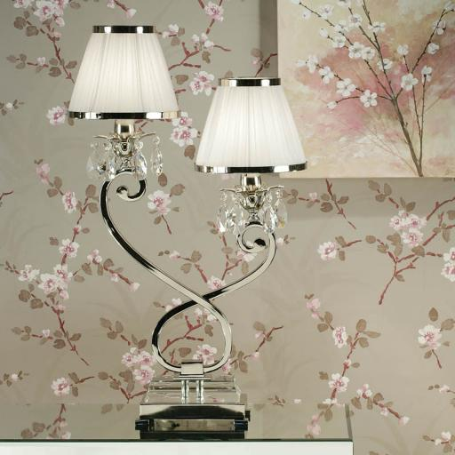 Oksana Nickel Double Table Lamp with White Shades - New Classics Interiors 1900