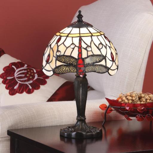 Dragonfly Beige Small Table Lamp - Interiors 1900 Tiffany Light