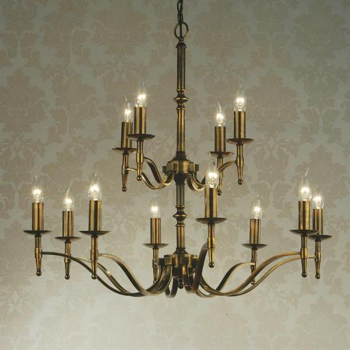 Stanford Brass 12 Light Chandelier - New Classics Interiors 1900 Lighting