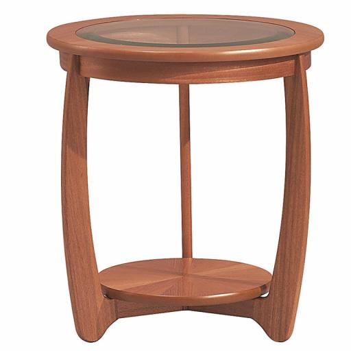 Nathan Furniture 5814 Glass Top Round Lamp Table- Nathan Shades Furniture