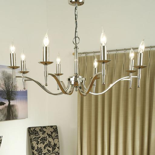 Stanford Nickel 8 Light Chandelier - New Classics Interiors 1900 Lighting