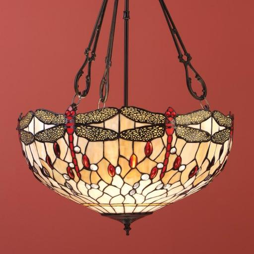 Dragonfly Beige Large Inverted Pendant - Interiors 1900 Tiffany Light