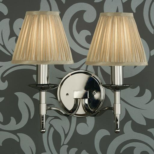 Stanford Nickel Double Wall Light Beige Shades - New Classics Interiors 1900 Lighting
