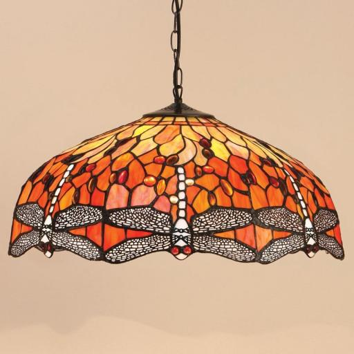 Dragonfly Flame Large Pendant - Interiors 1900 Tiffany Light