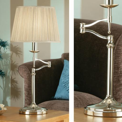Stanford Nickel Swing Arm Table Lamp Beige Shade - New Classics Interiors 1900 Lighting