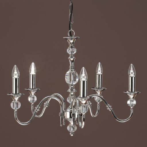 Polina Nickel 5 Light Chandelier - New Classics Interiors 1900 Lighting