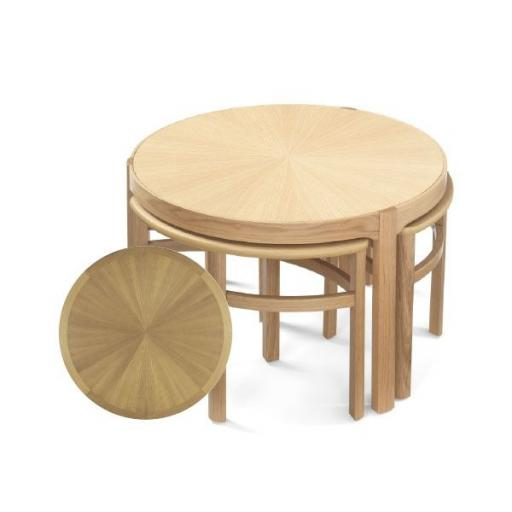 5605 Sunburst Top Trinity Nest of Tables - Nathan Furniture - Occasions Oak