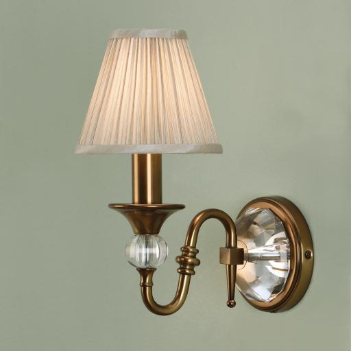 Polina Brass Wall Light Beige Shades - New Classics Interiors 1900 Lighting