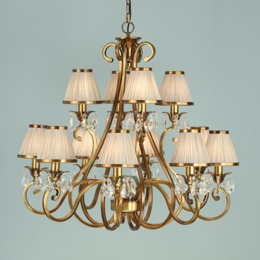 Oksana Brass 12 Light Chandelier with Shades - New Classics Interiors 1900