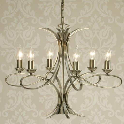 Penn 6 Light Chandelier Brass - New Classics Interiors 1900 Lighting