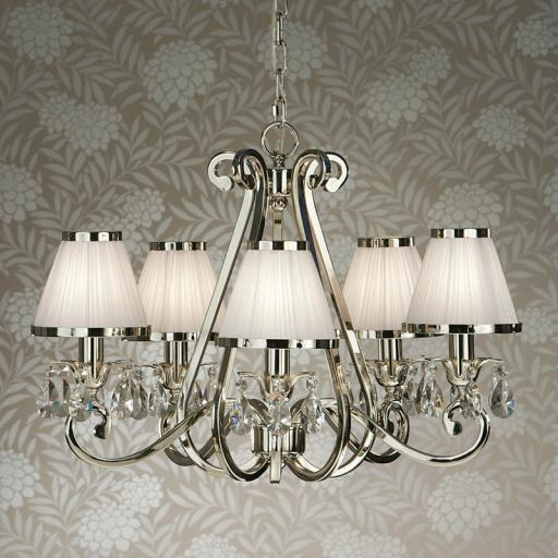 Oksana Nickel 5 Light Chandelier with White Shades - New Classics Interiors 1900 Lighting