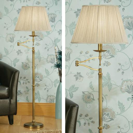 Stanford Brass Swing Arm Floor Lamp Beige Shades - New Classics Interiors 1900 Lighting