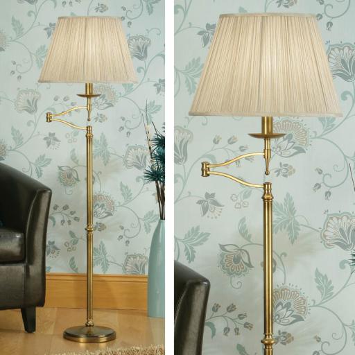 Stanford Brass Swing Arm Floor Lamp Beige Shades - New Classics Interiors 1900 Lighting