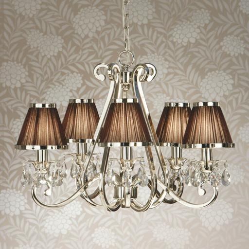 Oksana Nickel 5 Light Chandelier with Chocolate Shades - New Classics Interiors 1900 Lighting