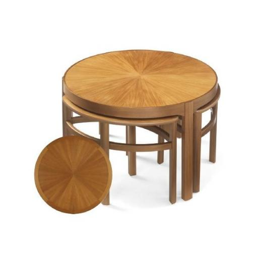 5604 Sunburst Top Trinity Nest of Tables - Nathan Furniture - Occasions Teak