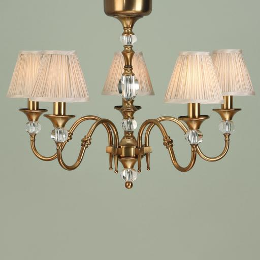 Polina Brass 5 Light Chandelier Beige Shades - New Classics Interiors 1900