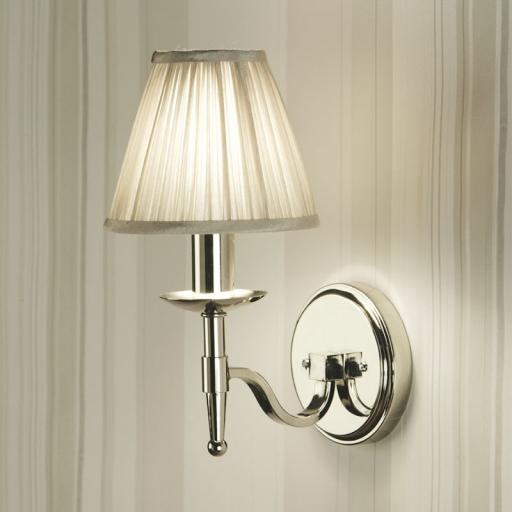 Stanford Nickel Single Wall Light Beige Shade - New Classics Interiors 1900 Lighting