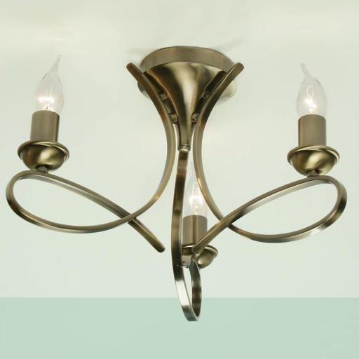 Penn 3 Light flush Chandelier Brass - New Classics Interiors 1900