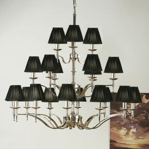 Stanford Nickel 21 Light Chandelier Black Shades - New Classics Interiors 1900 Lighting