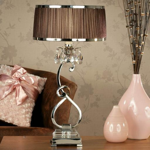 Oksana Nickel Bedside Lamp with Chocolate Shades - New Classics Interiors 1900 Lighting
