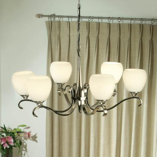 Columbia Nickel 6 Light Chandelier Opal Matt Art Glass Shades - New Classics Interiors 1900 Lighting