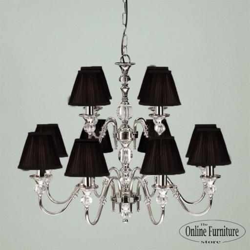 Polina Nickel 12 Light Chandelier Black - New Classics Interiors 1900 Lighting