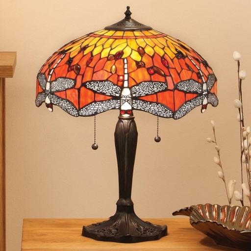 Dragonfly Flame Large Table Lamp - Interiors 1900 Tiffany Light