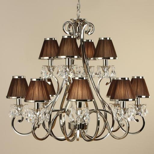 Oksana Nickel 12 Light Chandelier with Chocolate Shades - New Classics Interiors 1900 Lighting