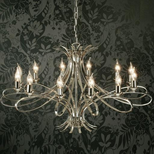 Penn 12 Light Chandelier Nickel - New Classics Interiors 1900 Lighting