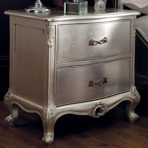 Rococo Silver Leaf Bedside Cabinet - Winsor Furniture WR2WS