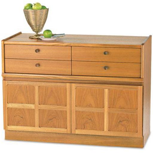 Nathan Furniture 4444 4 Drawer Mid Storage Unit - Classic Teak Range