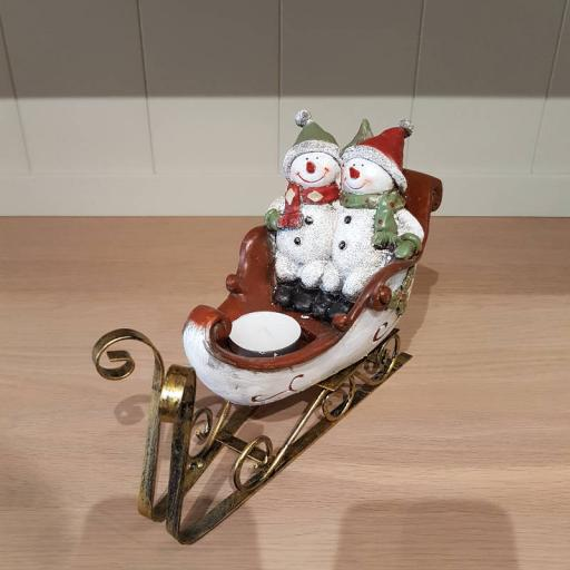 Couple of Snowmen on Sleigh - Flame